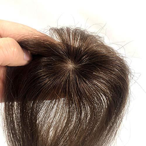 viviaBella Human Hair Clip in Hair Bangs 3D Clip-on Bangs Topper Real Hair Air Bangs One Piece Clip in Hair Topper/Hair Fringe (Machinemade Silk Base, Dark Brown)