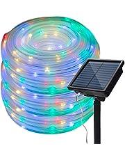 Lichtslang op zonne-energie, 13 m, led-lichtketting met 100 leds, lichtslang voor binnen en buiten, tuindecoratie, boomfeest, kleurrijk