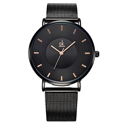 Reloj de pulsera SK para mujer, correa de acero inoxidable, reloj de cuarzo