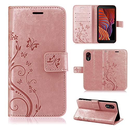 betterfon Samsung Galaxy Xcover 5 Hülle - Handyhülle Samsung XCover 5 Klapphülle Schutzhülle mit [Standfunktion] [Kartenfächern] für Galaxy Xcover 5 Blume Rosegold