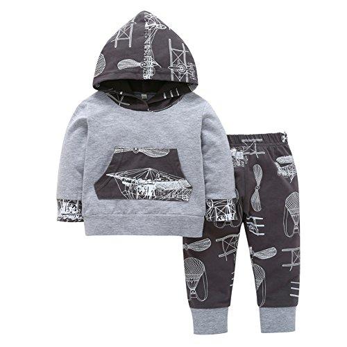 Brightup Bébé Enfant Ensemble, Bébé Garçon Sweat-Shirt Pull + Pantalon de Jogging Vêtements de bébé