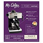 Mr. Coffee 4-Cup Steam Espresso System with Milk Frother 10 Steam Heat feature forces hot steam through the filter for dark, rich espresso brew Frothing arm makes creamy froth to top off your cappuccinos and lattes Easy pour glass carafe serves up to 4 shots. To avoid espresso maker to be too noisy during operation make sure the water reservoir is full and properly fitted into its position