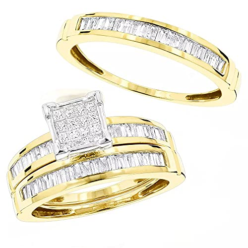 Juego de anillos de compromiso con dos bandas a juego de dos bandas de compromiso para él y ella de 1,60 quilates chapado en oro amarillo de 14 quilates