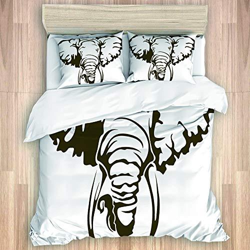 SUGARHE Bedding Juego Funda Edredón,Elefante Africano Grande Tatuaje Dumbo Orejas Colmillos,Microfibra Funda Nórdico y Fundas Almohada (Cama 140x200cm+Almohada 50X80cm)