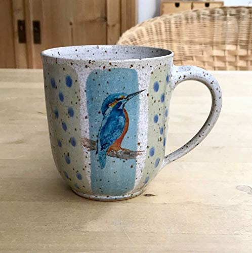 Kaffee Becher -250ml-türkisblau/grün mit Eisvogel-getöpfert