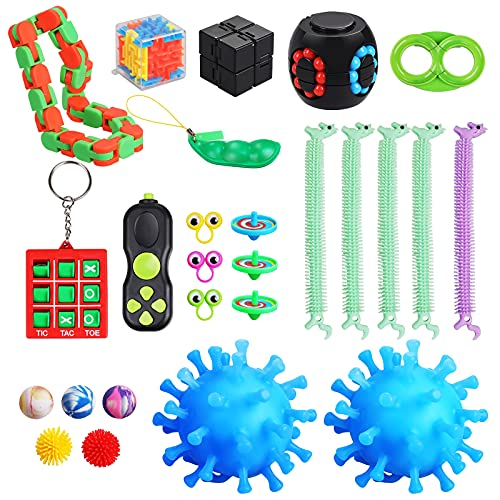 Gemeer Sensory Fidget Toys Pack, 26 Pcs Stress Relief and Anti-Anxiety...