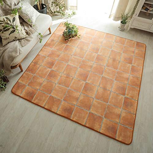 グラムスタイル ラグ ラグマット カーペット 洗える 低反発 130x190cm 1.5畳 (スーパームート テラコッタ)