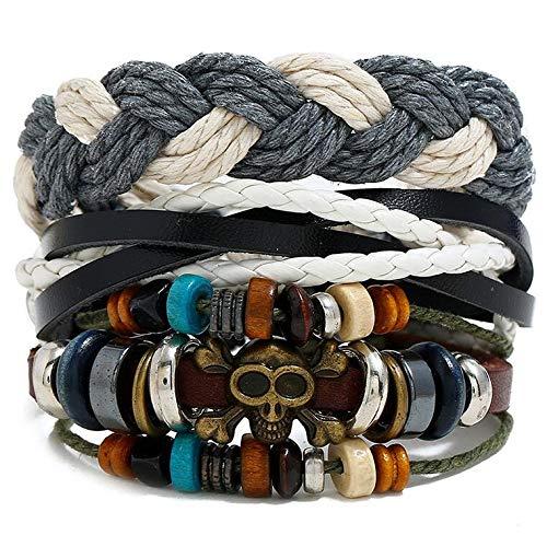 Puck Rock Men Bracelets Set Vintage Teschio Fascino Perline Poltrone BracciaMultistrato Braided Pelle Donne Bangle Gioielli Gotici