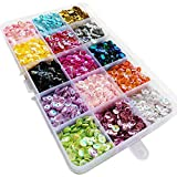 Chenkou Craft 1 Box 15000pcs 5mm Rainbow AB Cup Sequin Flake for Wedding Christmas Clothes Jewelry 15 Colors Sequins (Cup Sequins 15colors with Box)