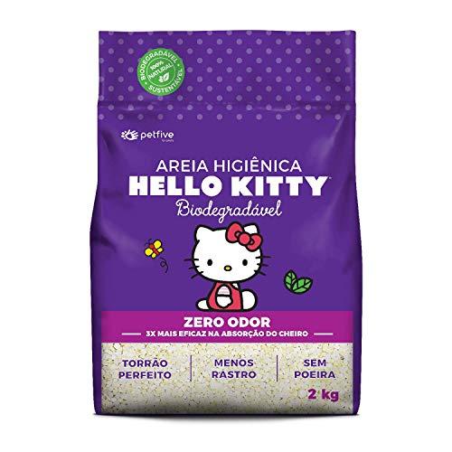 Areia Higiênica Hello Kitty Zero Odor, Biodegradável, Grossa 2 kg