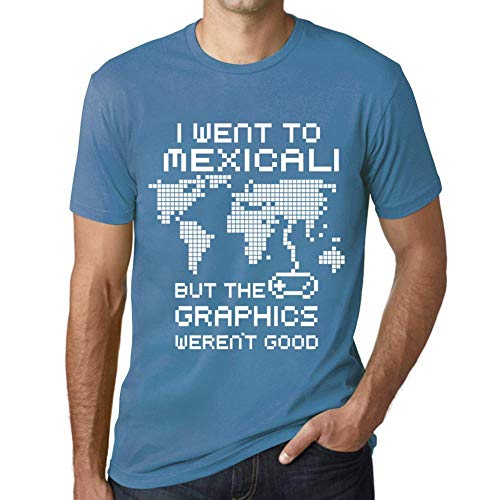 Hombre Camiseta Vintage T-Shirt Gráfico I Went To Mexicali Azul