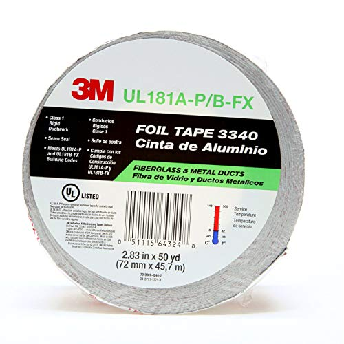 3M Aluminum Foil Tape 3340, 2.5' x 50 yd, 4.0 mil, Silver, HVAC, Sealing and Patching Hot and Cold Air Ducts, Fiberglass Duct Board, Insulation, Metal Repair