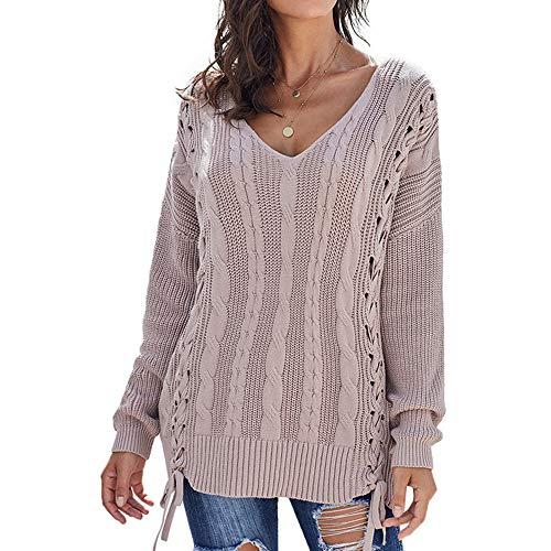 Discountl - Maglione da donna in maglia di pizzo intrecciato a corda con scollo a V, a maniche lunghe, larghi, per donna rosa L