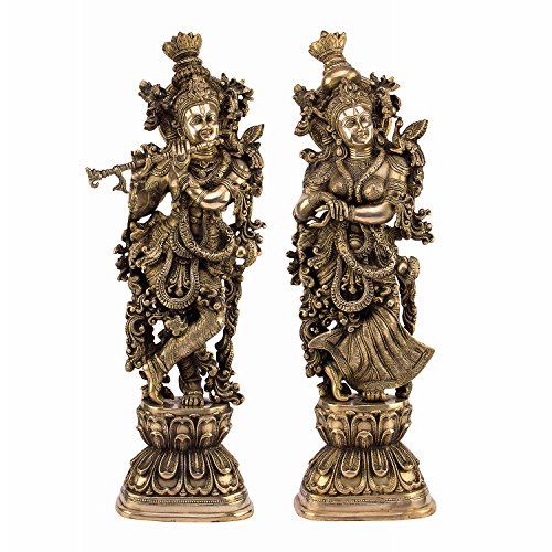 Gold Dragon International Or Laiton Radha Krishna, Doré, Taille : 21,6 x 15,2 x 76,2 cm