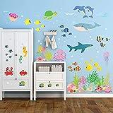 DECOWALL DW-2014 Bajo el mar Vinilo Pegatinas Decorativas Adhesiva Pared Dormitorio Saln Guardera Habitaci Infantiles Nios Bebs
