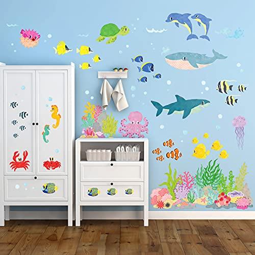 DECOWALL DW-2014 Sotto il mare Adesivi da Parete Decorazioni Stickers Murali Soggiorno Asilo Nido Camera Letto per Bambini decalcomanie