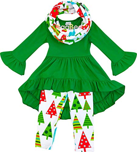 Boutique Clothing Little Girls Merry Xmas Christmas Trees Decoration Tunic Legging Scarf Outfit Green 5/XL