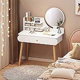 Mesa de maquillaje moderno LED mesa de tocador conjunto, cajón grande bolso suave empapado de madera sólida tocador de madera o dormitorio para niños,White-60cm belt lamp