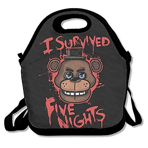 I Survived Five Nights Lunch Tote Insulated Reusable Picnic Lunch Bags Boxes Men Women Kids Toddler Nurses Travel Bag.