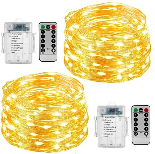 2 Set of Fairy String Lights, 33ft 100 Led Fairy Lights Battery Operated Silver Wire Lights with Remote Control, 8 Mode Waterproof Lights for Home Bedroom Garden Party (Warm White)
