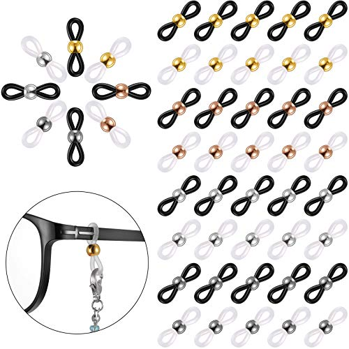 160 Pieces Eyeglass Chain Ends Adjustable Silicone Strap Holder Anti-Slip Chain Connectors Retainer Eyeglass Chain Loop for Sunglasses Chain, Sports Eyeglasses Strap, 8 Colors