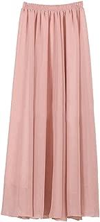 Women's Double Layer Retro Chiffon Long Skirt Elastic Waist Boho Skirt