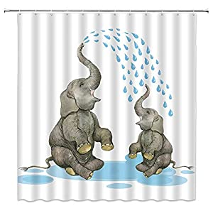 Xnichohe Elephant Shower Curtain for Kids,Mother and Child Take a Bath Play in The Water Funny African Animals Polyester Cloth Fabric Bathroom Curtains Decor Set with 12 pcs Hooks,70 x70 Inches