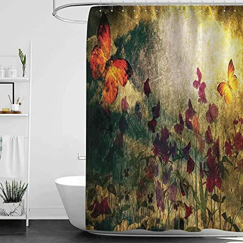 SFSDF Cortinas de Ducha Mariposa Larga Diseño de Murk Quemado de inspiración Vintage con Flores de Amapola en el Prado Estilo Antiguo Retro 200x180cm