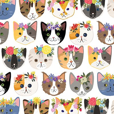"""Hippie Kitty Cats Gift Wrap Roll 24"""" X 15' - Gift Wrapping Paper"""