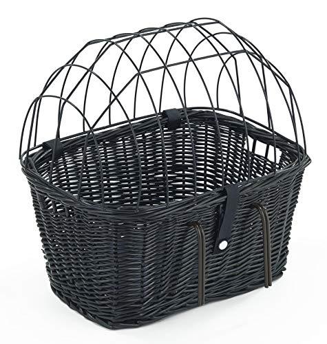 Tigana Fahrradkorb aus Weide mit Gitter und Kissen für Lenker 45 cm