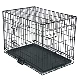 30-Inch Extra-Strong Dog Cage for Large Medium Small Dogs Kennel Pet Playpen Folding Double-Door Indoor Outdoor Travel Metal Dog Crates with Plastic Tray Black