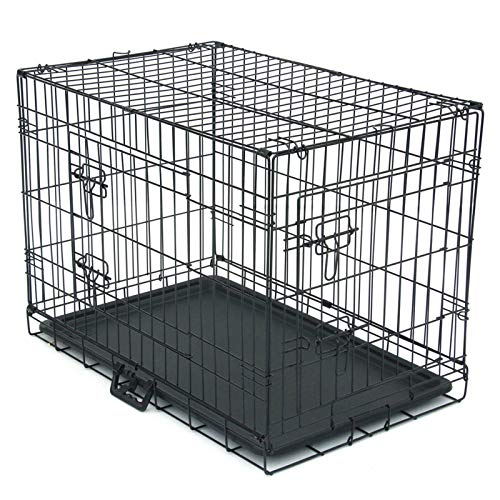 THEHOME Extra-Strong Dog Cage for Large Medium Small Dogs Kennel Pet Playpen Folding Double-Door Indoor Outdoor Travel Metal Dog Crates with Plastic Tray Black (30-Inch)