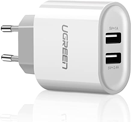 UGREEN 20384 - Cargador con 2 Puertos USB 5V/2.4A y 5V/1A USB Adaptador de Corriente 17W Enchufe Europeo, Color Blanco