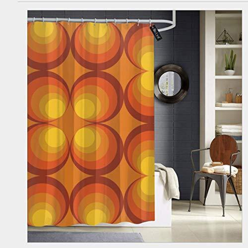 Sotyi-ltd 70er Jahre Kreise Design orange Hintergr& Duschvorhänge mit 12 Haken, strapazierfähig, schimmelresistent, wasserfest, waschbar, 183 x 183 cm
