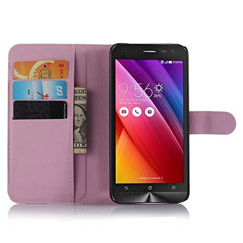 Ycloud Tasche für Asus ZenFone 2 Laser ZE500KL (5zoll) Hülle, PU Ledertasche Flip Cover Wallet Hülle Handyhülle mit Stand Function Credit Card Slots Bookstyle Purse Design rosa