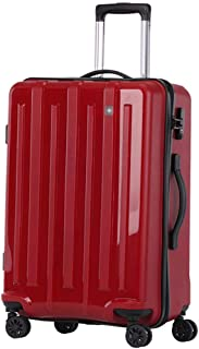 """XLHJFDI Super Lightweight Cabin Luggage,Polypropylene Durable Hard Shell Luggage Suitcase Travel Trolley Cases 4 Wheels Spinner with TSA Lock, 20""""/24 (Color : Red, Size : 24 inches)"""