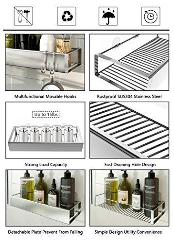 Roseyat 2-Pack Adhesive Bathroom Shower Caddy Basket Shelf with Hooks, No Drilling Removable Bathroom Shelf Organizer,Stainless Steel Rustproof Shower Rack for Shampoo Storage, Sponge Holder-Silver