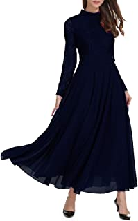 Womens Elegant Long Sleeve Floral Chiffon Lace A Line Long Maxi Party Evening Bridesmaid Swing Dress
