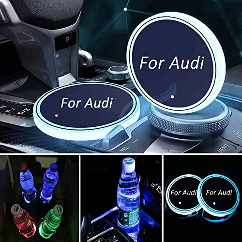Meserparts 2 Pack LED Cup Holder Lights Fit for Audi, LED Car Coaster with 7 Colors Changing USB Charging Mat, Luminescent Cup Pad Interior Atmosphere Lamp Decoration Lights