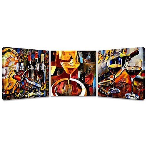 iKNOW FOTO 3pcs Wine Canvas Wall Art Abstract Wine Cup and Bottle Modern Decorative Painting Artwork Still Life Pictures Wall Decorations for Dining Room Kitchen Home Decor