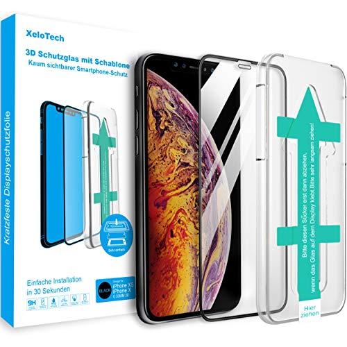 XeloTech Premium 3D Schutzglas für iPhone 11 Pro (5.8 Zoll) und Xs/X Vollglas mit Schablone - Kompatibel mit Hülle & Case - Full Cover Panzerglasfolie Mit Randschutz