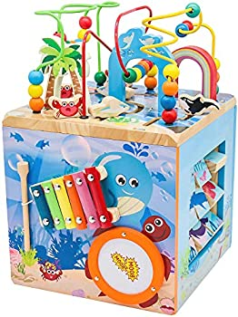 Under The Sea Adventures Deluxe Activity Wooden Maze Cube - Perfect for Kids Play Musical Activity and Toddlers Early Developmental Skills