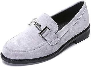 [GoldFlame-JP] ローファー スリッポン レディース ローヒール スエード ぺたんこ靴 履きやすい 歩きやすい 快適 通勤通学 学生靴 オシャレ フォマール オフィシャル ブラック グレイ