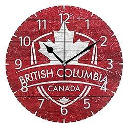 Franzibla British Columbia Province Canada Maple Leaf Flag 9.5 Inch Battery Operated Decorative Wall Clock, Quartz Clock for Bedrooms, Living Room, Bathroom