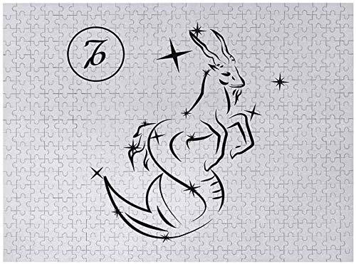 Rompecabezas de 500 piezas para adultos   Zodiac Capricorn 3D Puzzles para adultos Estilo de dibujo monocromático Diseño de arte de línea de Capricornio con patrón de estrellas, blanco y negro
