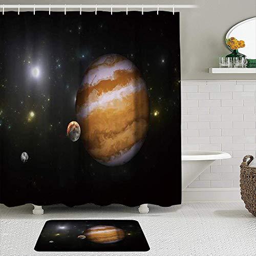 LISNIANY Duschvorhang Badezimmermatten Set,Weltraum Detaillierte wissenschaftliche Informationen des Sonnensystems Jupiter Saturn,rutschfeste Badematte und wasserdichter Duschvorhang Badezimmer