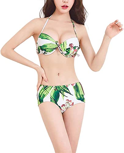 maillot de bain Maillots de Bain Costume Trois pièces Bikini Maillot de Bain Vintage froncé à imprimé Floral Costume de Bain Sexy Taille Haute Maillot de Bain Licou épaules dénudées Femmes Les Les dames