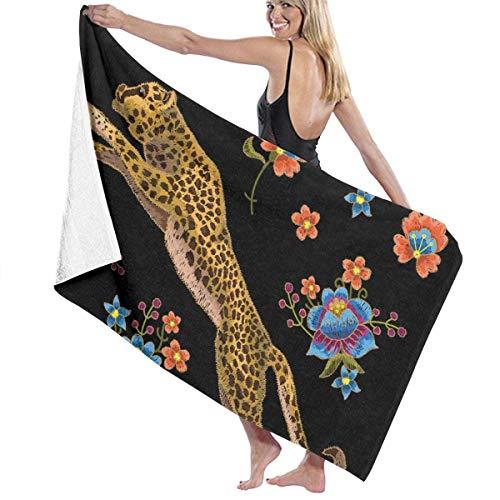 xcvgcxcvasda Badetuch, Leopard with Flowers for Spa Pool Bathroom Sand Cotton Blanket Towels Set