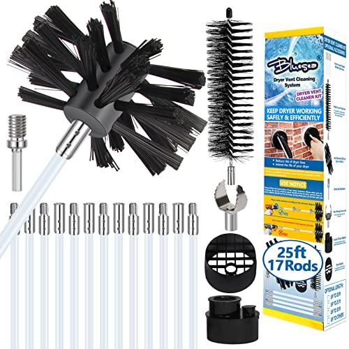 Bluesea 25 Feet Dryer Vent Cleaning Kit, Lint Removes, Extends Up to 25 Feet, Dryer Vent Cleaning System, Dryer Vent Cleaner Kit Vacuum Attachment with Lint Trap Brush, Vacuum Adapter, Dryer Adapter