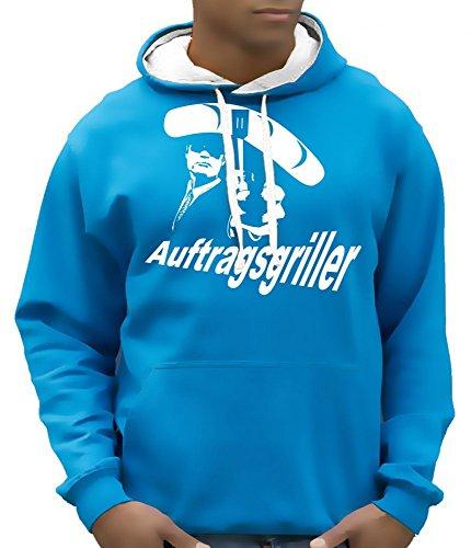 Auftragsgriller - Grill Grillen BBQ Hoodie - Sweatshirt mit Kapuze BI Color Sky-Weiss Gr.XL